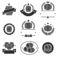 Barrels label collection set. Vector