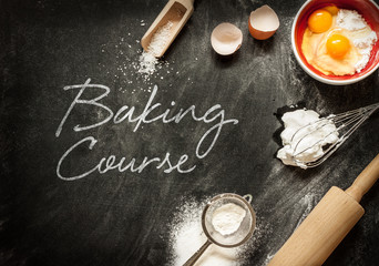 Baking course poster design with cake ingredients on black
