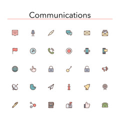 Communications Colored Line Icons