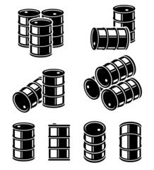 Oil barrel set. Vector