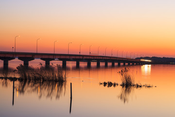 Kasumigaura Bridge at sunset, Ibaraki, Japan