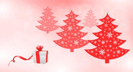 czerwone drzewa świąteczne i prezent