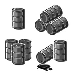 Oil barrel set. Vector