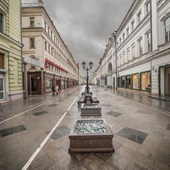 Wet morning city street.