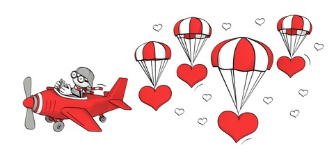 little sketchy man flying in a plane and hearts with parachute