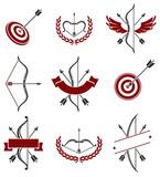 Bow arrow labels and elements set. Vector