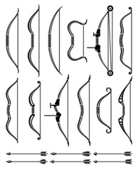 Bow and arrow set. Vector