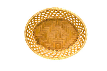 empty wooden wicker plate basket isolated on white