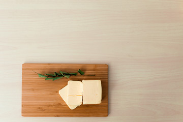 Butter on cutter board