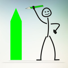 Stick figures with pencil painting green arrow