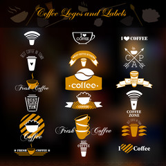 Coffee logos and labels.