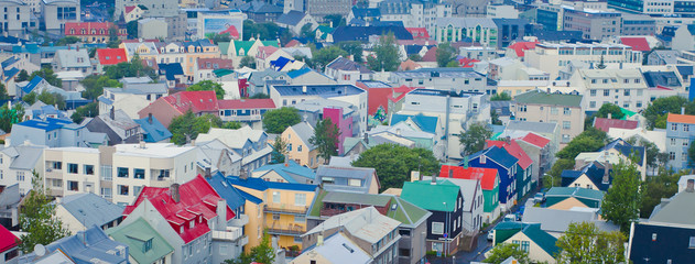 Beautiful super wide-angle aerial view of Reykjavik, Iceland wit