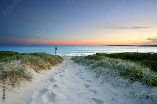 Poster Strand Sandy beach trail at dusk sundown Australia