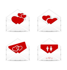 Set envelopes with valentine hearts and postcards