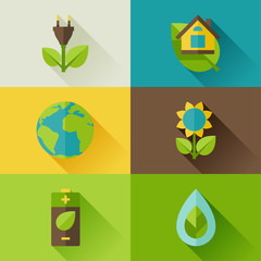 Ecology set of environment and pollution icons.