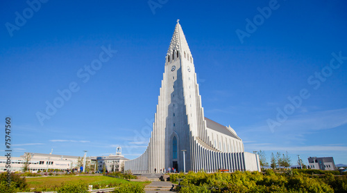 Staande foto Scandinavië Beautiful super wide-angle aerial view of Reykjavik, Iceland