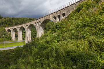 Stone railway viaduct with a length of 120 meters