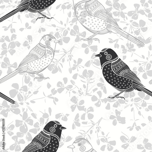 Floral seamless pattern with birds. Monochrome vector background © maritime_m
