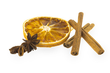 Dried orange slice with cinnamon and star anise