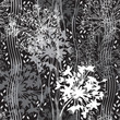 Monochrome seamless pattern of abstract flowers on black backgro