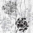 Monochrome seamless pattern of abstract flowers. Hand-drawn flor