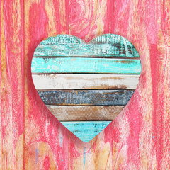 wooden heart on vintage background