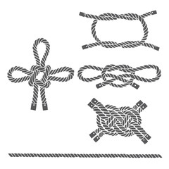 Set of marine rope, knots. Vector isolated  elements on a white