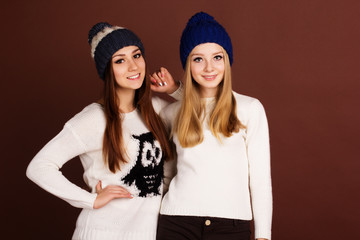 Two teenager girls in winter clothes