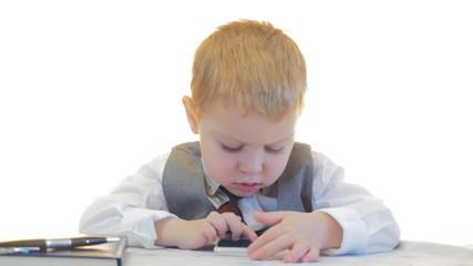 Little businessman in office