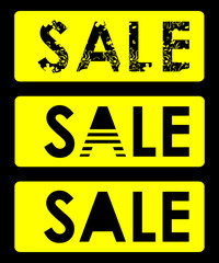 Text Sale (3 options - floral, striped and plain) in yellow