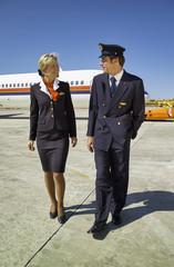 Italy, Sardinia, Olbia Airport, flight assistants unboarding