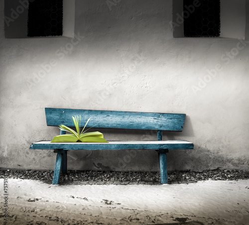 libro abbandonato su una panchina - 75751587