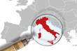 Leinwanddruck Bild - L'Italia sotto osservazione - Italy under scrutiny