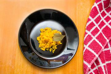 Paella plate on wood table