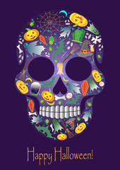 Merry Halloween skull with traditional symbols icons. Vector.
