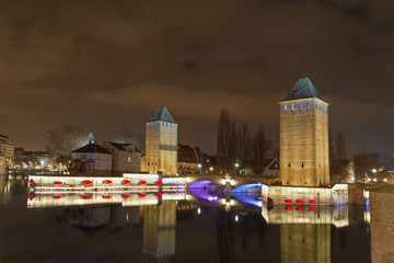 Strasbourg, medieval bridge Ponts Couverts. Alsace, France.