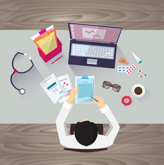 Doctor workplace, vector illustration. Male person in doctor's