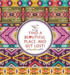 Seamless colorful decorative geometric pattern in tribal