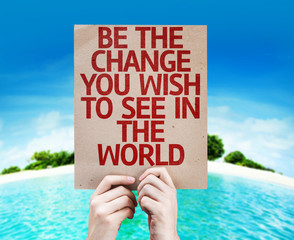 Be The Change You Wish to See in the World card with a beach