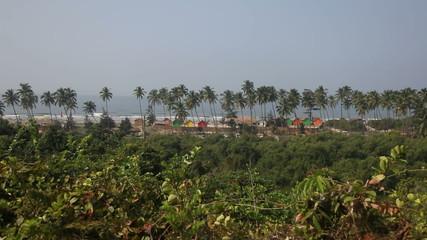 View of the beach in North Goa Arambol India