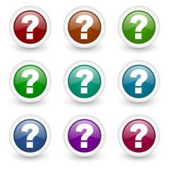 question mark web icons colorful vector set