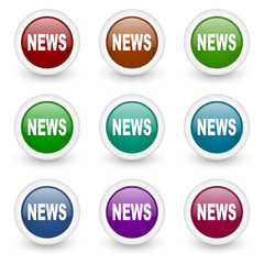 news web icons colorful vector set