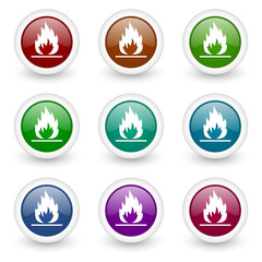 flame web icons colorful vector set
