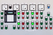 Many buttons and switches - control panel in a machine. - 75753318