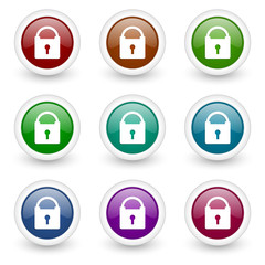 security web icons colorful vector set