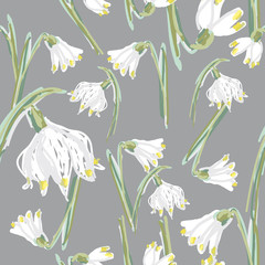 Snowflake / Floral seamless pattern with first spring flowers