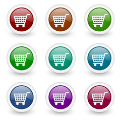 cart web icons colorful vector set