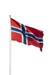 Norway flag in the wind isolated on white background.