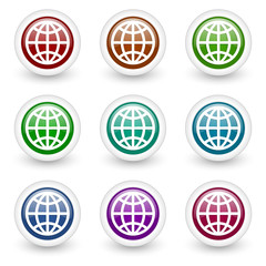 earth web icons colorful vector set