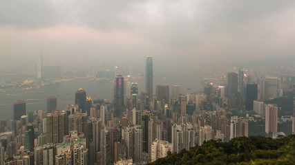 Day To Night Hong Kong City and Mist in Sky (zoom in)